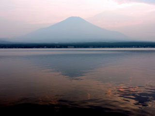 Mount Fuji reflected on the surface of the lake