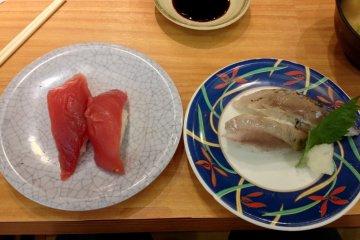 <p>Maguro and (too salty for me) aburi shio saba</p>