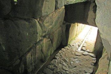 <p>Looking down into the Ishibutai&#39;s burial chamber</p>