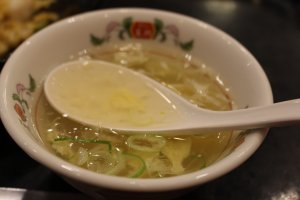 Egg drop soup comes with the rice