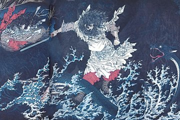 Susanoo slaying the Yamata no Orochi, the eight headed water dragon.