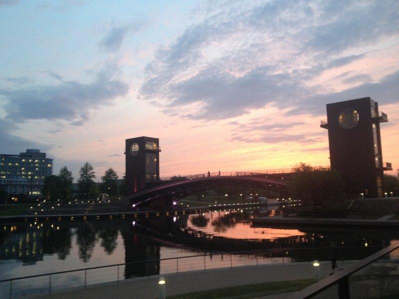 <p>Sunset at Kansui Park&#39;s Tenmon Bridge from the porch of Starbucks</p>