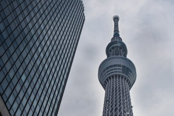 <p>Looking up at the Tokyo Skytree by day</p>
