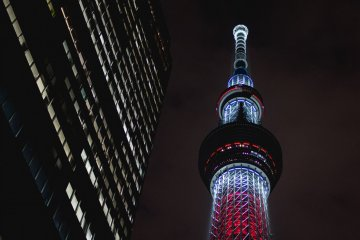 <p>Looking up at the Tokyo Skytree by night</p>