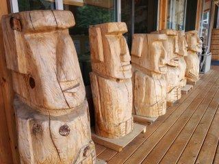 "Moai line the ""Portal"" community center"