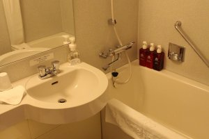 The bathroom was clean but not sterile-feeling, and there was no cleaning chemical odor