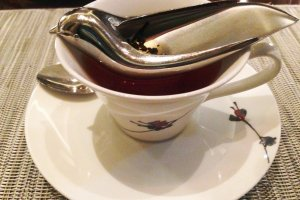 Luxury comes in delightful touches, such as their bird shaped tea strainer.