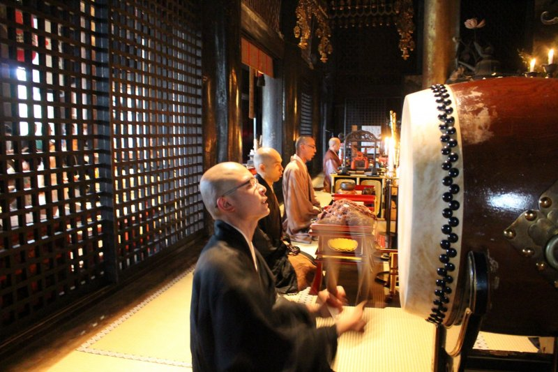<p>The Monks of Kinpusenji Temple during the Asaza Morning Service</p>