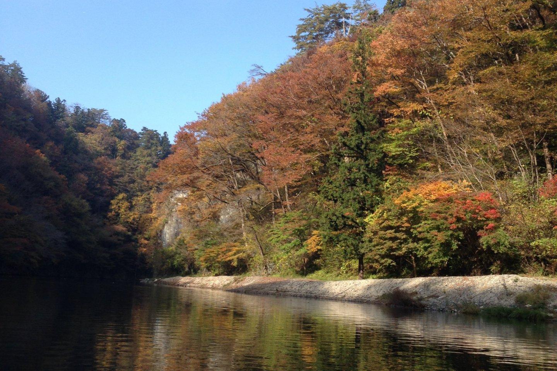 ใบไม้เปลี่ยนสีที่ Geibikei น้ำฟ้าใบไม้สงบและสดใส