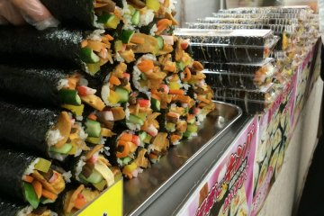 <p>Korean-style sushi is a popular street food.</p>
