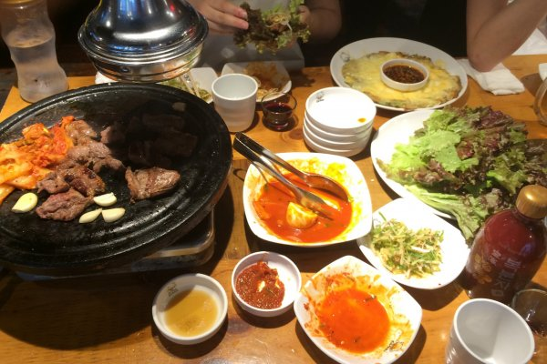 Korean barbecue and a korean-style cheese and shrimp pancake are the highlights of this meal in Shin-Okubo.