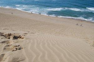 Смотря вниз с вершины дюн, холодная вода Японского моря простирается прямо перед тобой