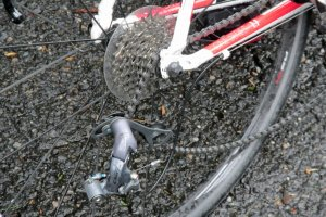 The course is punishing to bikes as well as people. This rider was out of the tour but he was picked up by the safety car