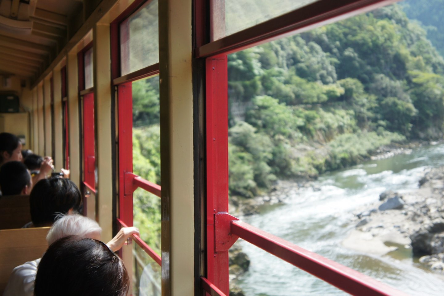 Mountains, valleys and rivers dominates the landscape of the Sagano Romantic Train trip