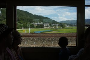 As we got closer to Kameoka Station, we were greeted with rice fields and farm houses.