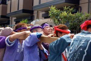 Mikoshi Shrine Festival participants working hard