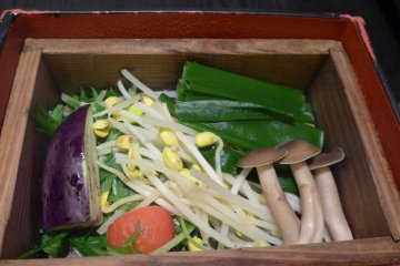 <p>A mix of seasonal vegetables grown in Kyoto are steamed together in this box.&nbsp;</p>