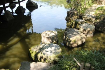 <p>Камни, по которым можно пройти на некоторые островки на пруду</p>