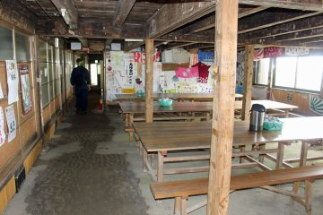 <p>The shukubo dining area and dormitory, tea and miso soup are served to those who make it this far</p>