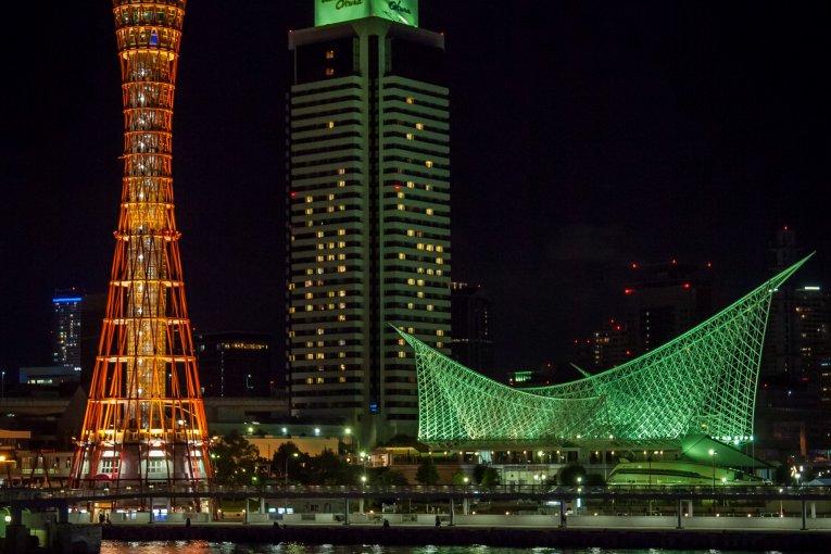 Cảng Kobe về đêm