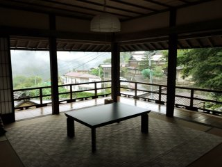 The second floor of Shimizuya overlooks the village