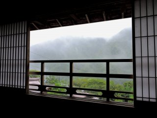 Low cloud obscured the view of the mountains from this upstairs window of Kikuya Inn