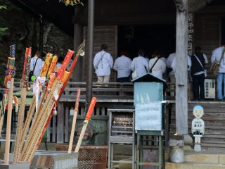 Pilgrims have Kongotsue (walking sticks) thought to be incarnation of the famous priest Kukai