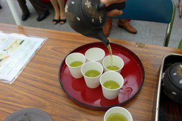 <p>Pouring the perfect cup of Yamato green tea</p>