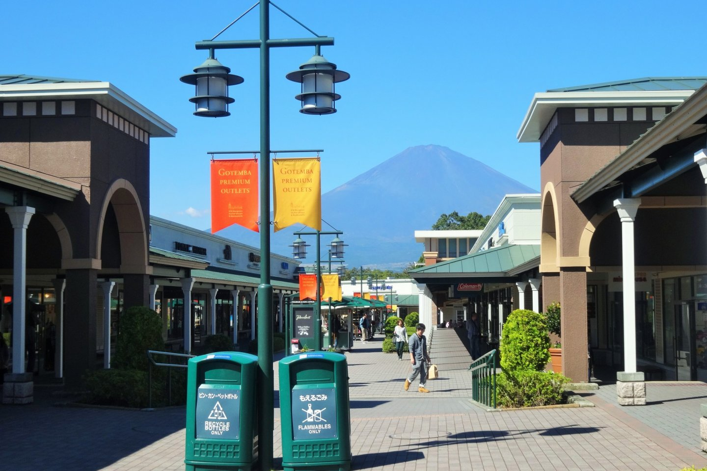 Mt Fuji looms over the Gotemba Premium Outlets