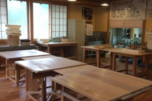 Just a few of the tables used to make soba. It is great for not only individual travelers, but also large groups.