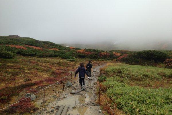 Jalur pendakian yang becek dan berlumpur