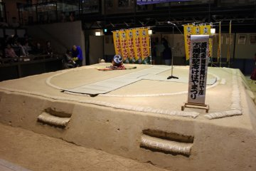 <p>The dohyo arena. Unlike a real sumo dohyo which is considered a sacred space off limits to women and those wearing shoes, anyone is allowed into the sumo museum&#39;s dohyo</p>