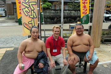 <p>The sumo deshi were available for photos after the show</p>