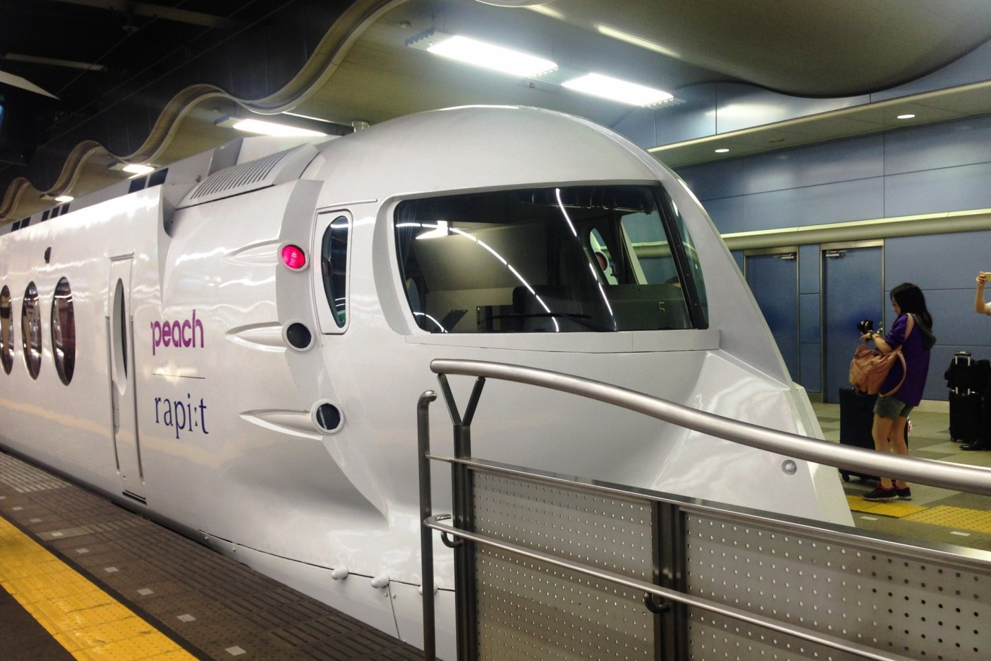The special white edition of the Nankai Rapit Limited Express with Peach Airways colors. Kintetsu Rail Pass holders can ride this train with one of the three limited express coupons. This train goes from Osaka to Kansai Airport via Sakai and Kishiwada