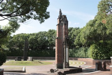 Atomic Bomb Hypocenter and the remaining post of the original Urakami Cathedral.