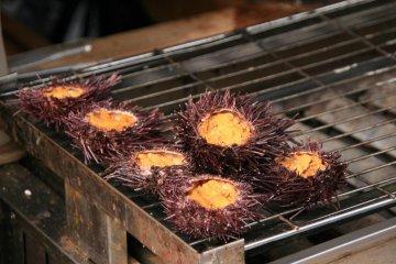 Sea urchins being grilled on a street side stall, Okage Yokocho
