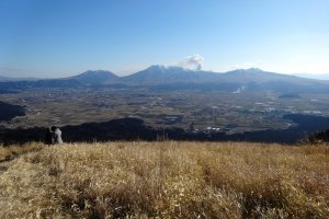 A view from Daikanbo lookout of the five peaks of Mt Aso