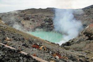 The active Nakadake crater at Mt Aso