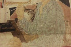 후지타 츠구하루의 자화상. 도토리 같은 머리 스타일과 귀걸이가 유니크.