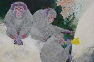 Les 3 singes, peinture.