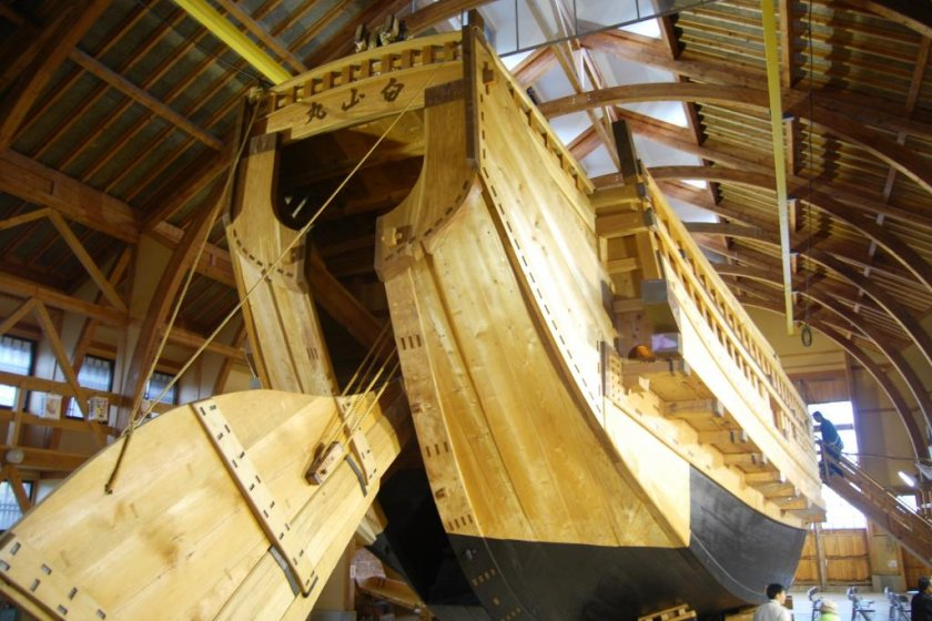 """Replica of the \""""sengokubune\"""" fright ship, which set\'s sail in front of the hall during festivals"""