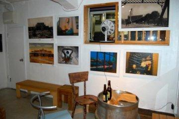 Indoor seating, beer keg tables