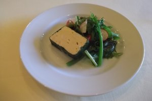 Prawn mousse terrine with salad