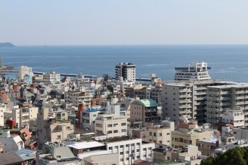 <p>A view of Atami from the rooftop.</p>