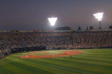 Night game at Yokohama Stadium, home of the Bay Stars.
