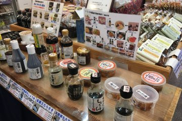 <p>Tasting corner where you can taste various soy sauces and learn which goes best with what kind of food.</p>