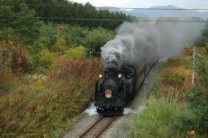Steam Locomotive Niseko at full steam near Kutchan