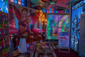 <p>Entrance area of the Robot Restaurant - the decorations are already quite extravagant</p>