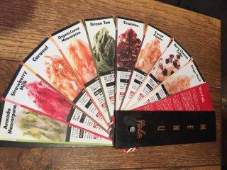 The menu of kakigori flavors