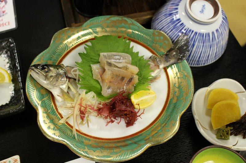 <p>Fresh amago sashimi, part of Hotel Nosegawa Japanese kaiseki course dinner</p>